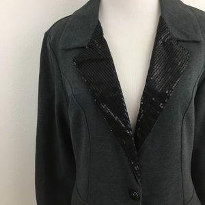 🆕 Gray Blazer & Sequin Collar